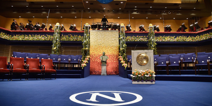 STOCKHOLM, SWEDEN - DECEMBER 10:  General view of the stage prior the Nobel Prize Awards Ceremony at Concert Hall on December 10, 2015 in Stockholm, Sweden.  (Photo by Pascal Le Segretain/Getty Images)
