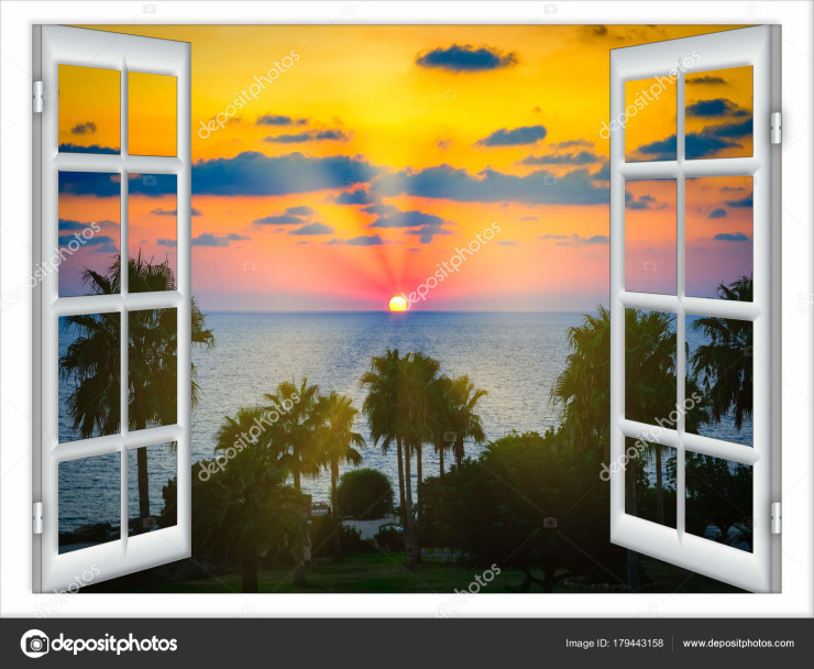 view from an open window with a curtain Caribbean sea Dominican Republic evening beautiful sunset