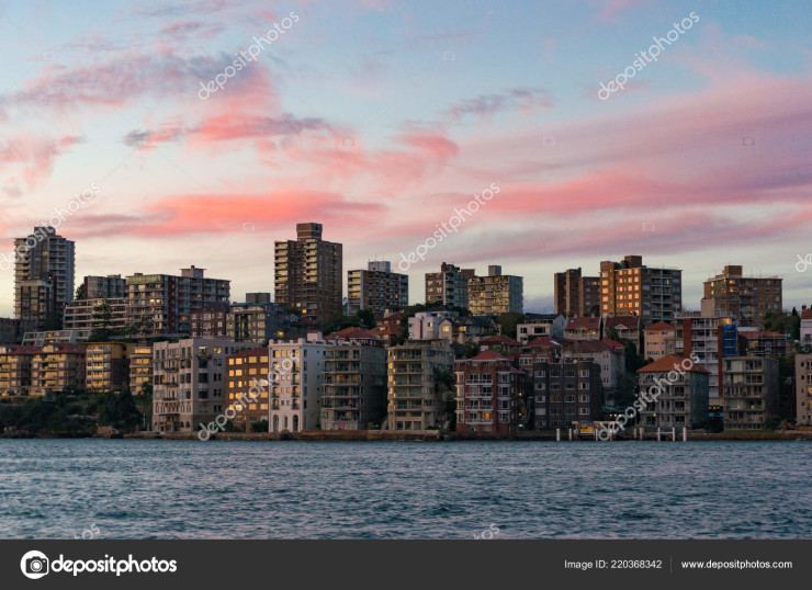 Kirribilli suburb with beautiful sunset sky on the background. Sydney, Australia